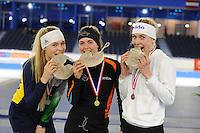 SCHAATSEN: HEERENVEEN: 03-02-2017, KPN NK Junioren, Podium Junioren A, 500m Dames, Jutta van Leerdam, Isabelle van Elst, Joy Beune, ©foto Martin de Jong