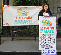 """NEW YORK, NY - MAY 6: Ana Breton, organizer of La March de Mayo and a digital producer with the TBS show, """"Full Frontal with Samantha Bee'' at the La Marcha de Mayo in New York, New York on May 6, 2017.  Photo Credit: Rainmaker Photo/MediaPunch"""