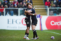 Anthony Watson of Bath Rugby celebrates his try with team-mate Ross Batty. European Rugby Challenge Cup match, between Bath Rugby and Pau (Section Paloise) on January 21, 2017 at the Recreation Ground in Bath, England. Photo by: Patrick Khachfe / Onside Images