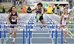 1582<br /> <br /> Chugiak&rsquo;s Rosie Johnson leads her 100 high hurdles on Friday.  Photo for the Star by Michael Dinneen