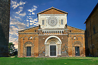 12th century facade of the 8th century Romanesque Basilica church of St Peters, Tuscania, Lazio, Italy
