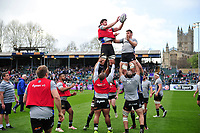 Bath Rugby forwards practise their lineout during the pre-match warm-up. European Rugby Challenge Cup Quarter Final, between Bath Rugby and CA Brive on April 1, 2017 at the Recreation Ground in Bath, England. Photo by: Patrick Khachfe / Onside Images