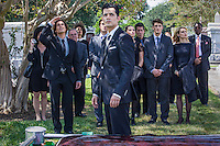 """Steven Cabral as Raymond Collins, the Funeral Director and Tyler Blackburn as Caleb in ABC Family's """"Ravenswood""""."""