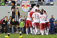 Joel Lindpere (20) of the New York Red Bulls celebrates scoring the first goal of the game in the 11th minute during the first half of a friendly between Sanots FC and the New York Red Bulls at Red Bull Arena in Harrison, NJ, on March 20, 2010.