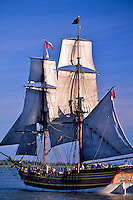 Tall ship Lady Washington, under sail at Tall Ships Festival, Steveston, BC.