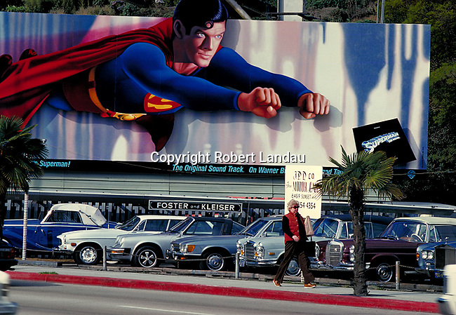 Christopher Reeve as Superman on billboard over the Sunset Strip in west Hollywod, CA