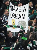 FUSSBALL   1. BUNDESLIGA  SAISON 2011/2012   18.  Spieltag   20.01.2012 Borussia Moenchengladbach   - FC Bayern Muenchen  Fankurve von Borussia Moenchengladbach mit einem Banner, Have a Dream