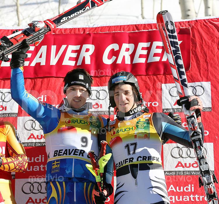 Ski Alpin; Saison 2006/2007  Slalom Herren Sieger Andre Myhrer (SWE) und Felix Neureuther (GER,li) Platz 3.