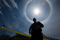 """An atmospheric phenomenon known as a """"sun dog"""" is seen at Seaside Heights, in New Jersey  May 14, 2013, Photo by Eduardo Munoz Alvarez / VIEWpress."""
