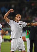 U.S. defender Jay DeMerit celebrates the U.S. win. The United States won Group C of the 2010 FIFA World Cup in dramatic fashion, 1-0, over Algeria in Pretoria's Loftus Versfeld Stadium, Wednesday, June 23rd..