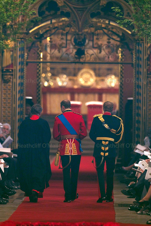 Mcc0031197 . Daily Telegraph..Fixed Point..Princes William and Harry arriving at Westminster Abbey...The Royal Wedding of Prince William and Kate Middleton..London 29 April 2011