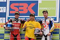 Noriyuki Haga (Jpn), Yamaha YZF R1 #41 Team Yamaha Motor Italia WSB, First place. Troy Corser (Aus), Yamaha YZF R1 #11 Team Yamaha Motor Italia WSB, second and Max Neukirchner (Ger), Suzuki GSX-R1000 #76 Team Suzuki Alstare, at third place on this podium of the second race. For sure, men in form of this race's weekend, Sunday, June 15, 2008, in Nürburgring, Eifel, Germany. (Valentin Bianchi/pressphotointl.com)