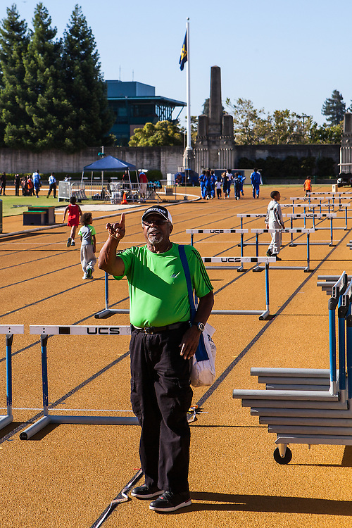 Coach Willie White preparing for the 2013 Tommie Smith Youth Track Meet at Edwards Stadium on the University of California Berkeley campus on Saturday June 1, 2013. Coach White, a 1960 NCAA All-American, was inducted into the Cal Athletic Hall of Fame in 2000.
