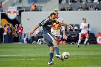 Landon Donovan (10) of the Los Angeles Galaxy takes a shot during the 1st leg of the Major League Soccer (MLS) Western Conference Semifinals against the New York Red Bulls at Red Bull Arena in Harrison, NJ, on October 30, 2011.