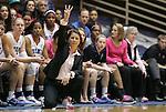 15 February 2012: Duke head coach Joanne P. McCallie. The Duke University Blue Devils defeated the Virginia Tech Hokies 67-45 at Cameron Indoor Stadium in Durham, North Carolina in an NCAA Division I Women's basketball game.