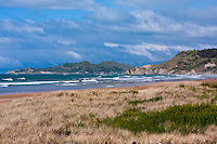 Pacific Ocean and Beach, Looking towards Wainoe Beach and Gisborne, north island, New Zealand.