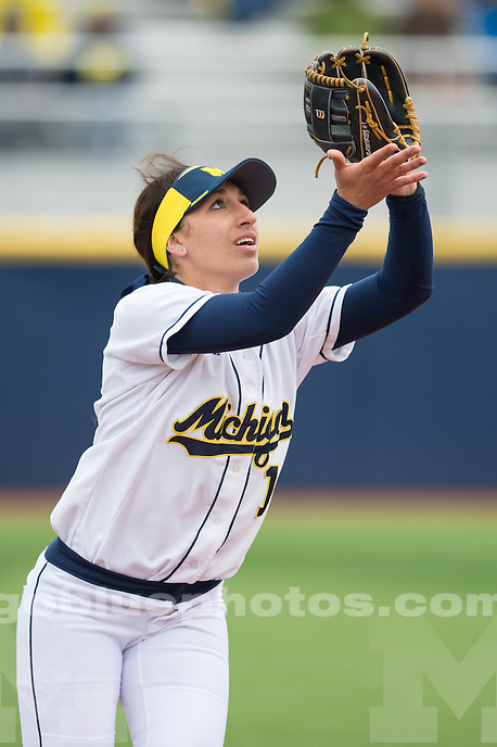 The University of Michigan softball team splits a doubleheader, 3-0 & 10-1, against Kent State at the Wilpon Softball Complex in Ann Arbor, Mich. on March 14, 2015.