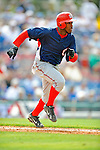 12 March 2008: Washington Nationals' infielder Willie Harris hustles to first during a Spring Training game against the Los Angeles Dodgers at Holman Stadium, in Vero Beach, Florida. The Nationals defeated the Dodgers 10-4 at the historic Dodgertown ballpark. 2008 marks the final season of Spring Training at Dodgertown for the Dodgers, as the team will move to new training facilities in Arizona starting in 2009 after 60 years in Florida...Mandatory Photo Credit: Ed Wolfstein Photo