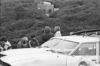 Surfboard shaper Shane Stedman (AUS) and Ian 'Kanga' Cairns (AUS) during the  running of the 1976 Rip Curl Pro, Bells Beach, Torquay, Victoria, Australia. Easter 1976.Photo:  joiliphotos.com