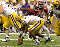 LSU quarterback Jordan Jefferson tries to pick up a loose ball during BCS National Championship game against Alabama at Mercedes-Benz Superdome in New Orleans, Louisiana on January 9th, 2012.   Alabama defeated LSU, 21-0.