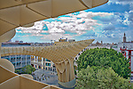 View from the top of Metropol Parasol structure, Seville, Spain