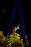Two beams of light illuminate the spires and reach 1000 feet upward above the Convention Center in memorial to those who gave their lives in the September 11th attacks.