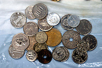 Rome 20 November 2006.Staff of Caritas of Rome cleans counts and weighs  the coins collected in Fontana di Trevi used to finance the Emporio Caritas..Items found inside the Fontana di Trevi :.Coins of different nationality..Personale della Caritas di Roma  pulisce  conta e pesa le monete raccolte nella Fontana di Trevi che servono a finanziare l?Emporio Caritas.......