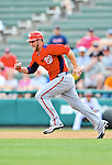 6 March 2012: Washington Nationals outfielder Bryce Harper hustles on the basepath during a Spring Training game against the Atlanta Braves at Champion Park in Disney's Wide World of Sports Complex, Orlando, Florida. The Nationals defeated the Braves 5-2 in Grapefruit League action. Mandatory Credit: Ed Wolfstein Photo