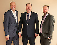 From left are Anthony Clark of Riverside Financial with speaker Jake Kelly, MD of East Midlands Trains and Nottingham City Business Club president James Simmonds