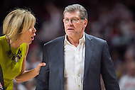 College Park, MD - DEC 29, 2016: UConn assistant coach has to hold Huskies head coach Geno Auriemma back from a referee after a no call during game between No. 1 UConn and the No. 3 Terrapins at the XFINITY Center in College Park, MD. UConn defeated Maryland 87-81. (Photo by Phil Peters/Media Images International)