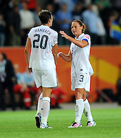 Abby Wambach (l) and Christie Rampone of team USA react during the FIFA Women's World Cup at the FIFA Stadium in Wolfsburg, Germany on July 6thd, 2011.