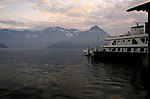 Car ferry on the lake, Stätter See. Beckenried to Gersau. Luzern area, Switzerland.