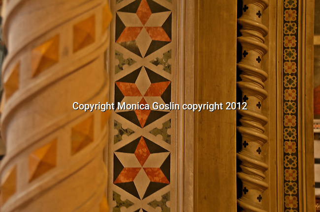 Detail of the highly decorated pilars in Santa Maria delle Grazie Sanctuary Brescia, Italy is a neo-gothic church dedicated to Santa Maria