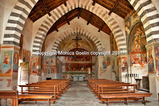 The 16th century church of San Giacomo Vecchia in Livo, a town in the mountains of Lake Como, Italy (above Gravedona)