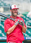 10 March 2015: Washington Nationals fielder Kevin Frandsen awaits his turn in the batting cage prior to a Spring Training game against the Miami Marlins at Roger Dean Stadium in Jupiter, Florida. The Marlins edged out the Nationals 2-1 on a walk-off solo home run in the 9th inning of Grapefruit League play. Mandatory Credit: Ed Wolfstein Photo *** RAW (NEF) Image File Available ***