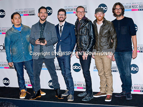 "LINKIN PARK.attends the 40th American Music Awards, Nokia Theatre, Los Angeles_18/11/2012.Mandatory Photo Credit: ©Dias/Newspix International..**ALL FEES PAYABLE TO: ""NEWSPIX INTERNATIONAL""**..PHOTO CREDIT MANDATORY!!: NEWSPIX INTERNATIONAL(Failure to credit will incur a surcharge of 100% of reproduction fees)..IMMEDIATE CONFIRMATION OF USAGE REQUIRED:.Newspix International, 31 Chinnery Hill, Bishop's Stortford, ENGLAND CM23 3PS.Tel:+441279 324672  ; Fax: +441279656877.Mobile:  0777568 1153.e-mail: info@newspixinternational.co.uk"