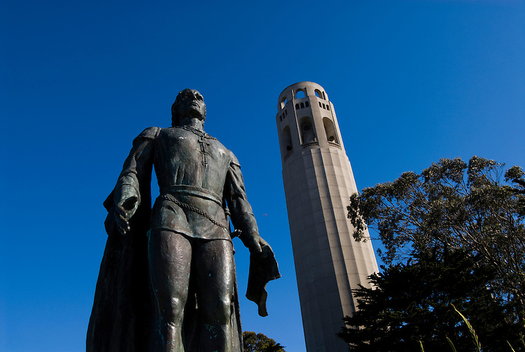 California: San Francisco. Statue of Columbus. Coit Tower, Telegraph Hill. Photo copyright Lee Foster. Photo #: san-francisco-coit-tower-19-casanf79249