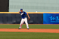 17 August 2007: Florian Peyrichou practices during the Good Luck Beijing International baseball tournament (olympic test event) at the Wukesong Baseball Field in Beijing, China.