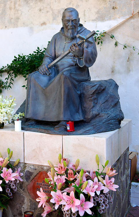 Statue of Father Pio in Atrani ; Amalfi Coast ; Italy
