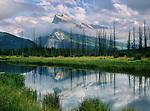 Vermillion Lake reflection and Mt. Rundle, Banff National Park, Alberta, Canada