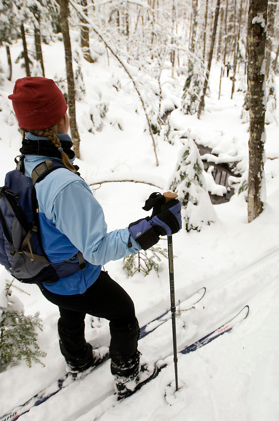 A woman looks at a stream and snow covered trees while backcountry skiing near Ishpeming Michigan.