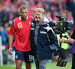 John Carew has a laugh with Norway manager Age Hareide