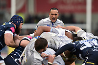 Kahn Fotuali'i of Bath Rugby shouts out encouragement at a maul. Aviva Premiership match, between Sale Sharks and Bath Rugby on May 6, 2017 at the AJ Bell Stadium in Manchester, England. Photo by: Patrick Khachfe / Onside Images