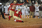 Lafayette High's Tyler Jackson (87) misses a field goal attempt vs. Louisville in MHSAA 4A playoff action at William L. Buford Field in Oxford, Miss. on Friday, November 18, 2011. Lafayette won 28-6 and will advance to play Amory.