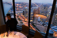 The exclusive restaurant, Coach Insignia, on the top floor of the General Motors (GM) Renaissance Centre, right in the heart of downtown Detroit, Michigan.