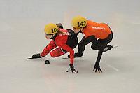 OLYMPICS: SOCHI: Iceberg Skating Palace, 13-02-2014, Shorttrack, 500m Relay Ladies, Semifinals, Marianne St-Gelais (#108 | CAN), Jorien ter Mors (#142 | NED), ©photo Martin de Jong