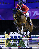 OMAHA, NEBRASKA - APR 2: McLain Ward rides HH Azur during the Longines FEI World Cup Jumping Final at the CenturyLink Center on April 2, 2017 in Omaha, Nebraska. (Photo by Taylor Pence/Eclipse Sportswire/Getty Images)