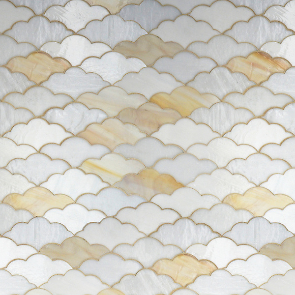 Clouds, a waterjet glass mosaic shown in Opal, Agate and Moonstone, is part of the Erin Adams Collection for New Ravenna Mosaics.<br /> Take the next step: prices, samples and design help, http://www.newravenna.com/showrooms/
