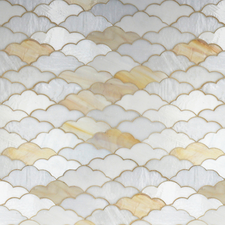 Clouds, a waterjet glass mosaic shown in Opal, Agate and Moonstone, is part of the Erin Adams Collection for New Ravenna Mosaics.