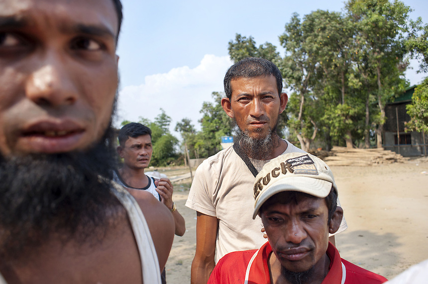 Muslim men at Kyawe Pone Lay in Oakkan Township. The village was attacked by a mob, some of which they knew by name, in the early evening on April 30. Following the attack, 100 of the 500 residents have fled to Yangon.